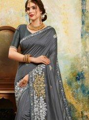 Resham Grey Poly Silk Classic Designer Saree