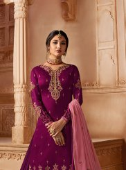 Resham Magenta Georgette Satin Designer Pakistani Suit