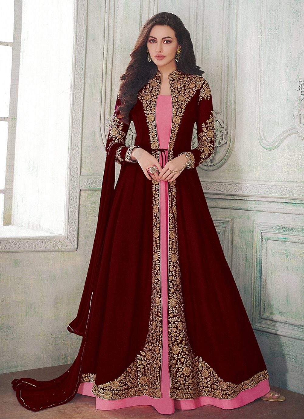 Resham Maroon and Pink Floor Length Anarkali Suit