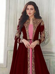 Resham Maroon and Pink Floor Length Anarkali Suit