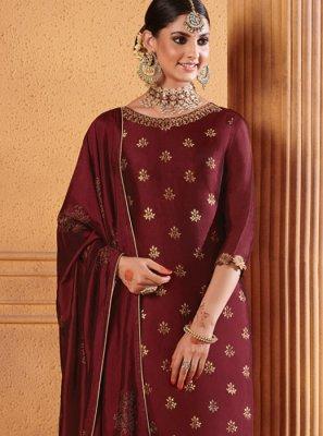 Resham Maroon Jacquard Designer Palazzo Suit