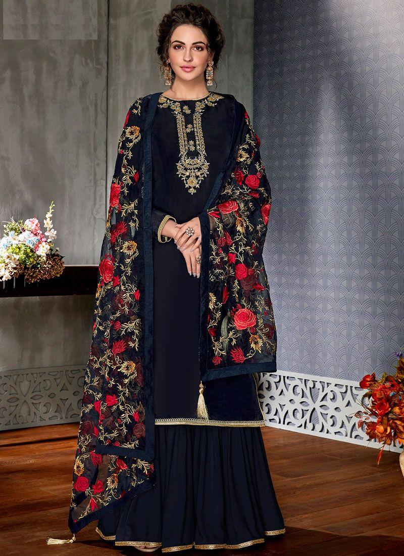 Resham Navy Blue Designer Pakistani Suit