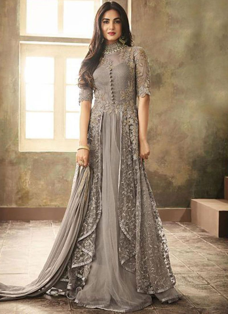 Resham Net Floor Length Anarkali Suit