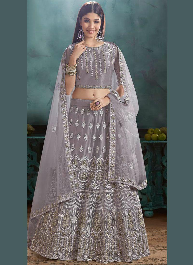 Resham Net Lehenga Choli in Lavender