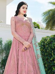 Resham Net Pink Floor Length Anarkali Suit