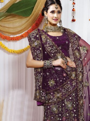 Resham Net Purple Lehenga Choli