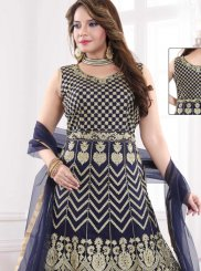 Resham Net Readymade Suit in Navy Blue