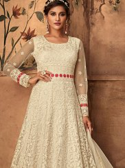 Resham Net White Floor Length Anarkali Suit