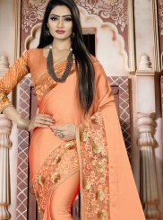 Resham Orange Art Silk Traditional Designer Saree