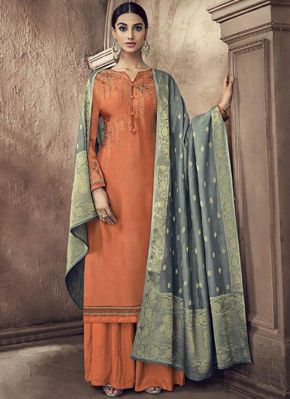 Resham Orange Designer Palazzo Suit