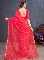 Resham Organza Trendy Saree in Red