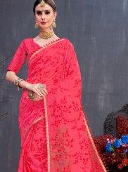 Resham Organza Trendy Saree in Red