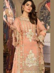 Resham Peach Faux Georgette Designer Pakistani Suit