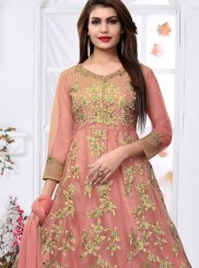 Resham Peach Net Ankle Length Designer Suit