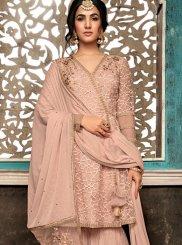 Resham Peach Net Designer Salwar Suit