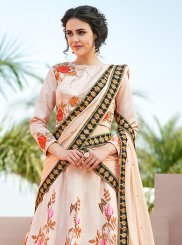 Resham Peach Satin Silk Lehenga Choli