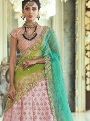 Resham Pink Satin Silk Lehenga Choli