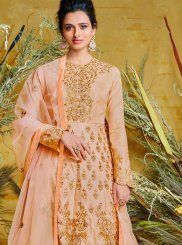 Resham Poly Silk Peach Floor Length Anarkali Suit