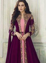 Resham Purple Georgette Anarkali Suit