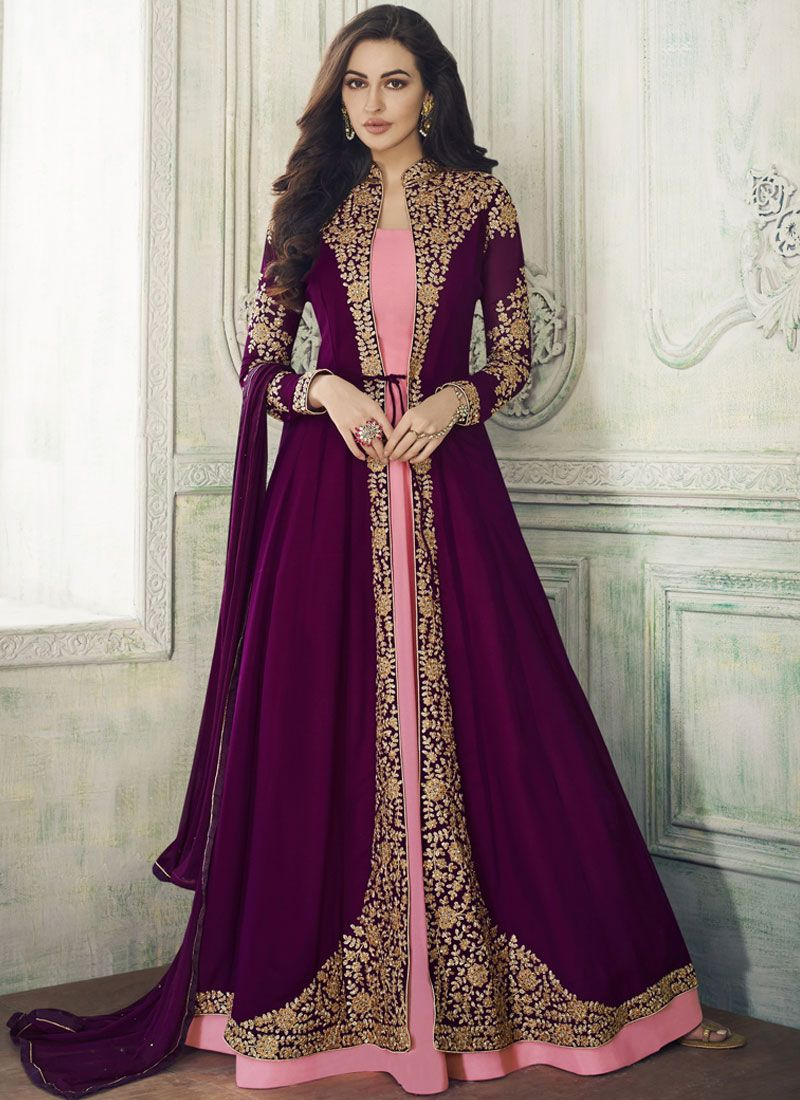 Resham Purple Georgette Anarkali Suit