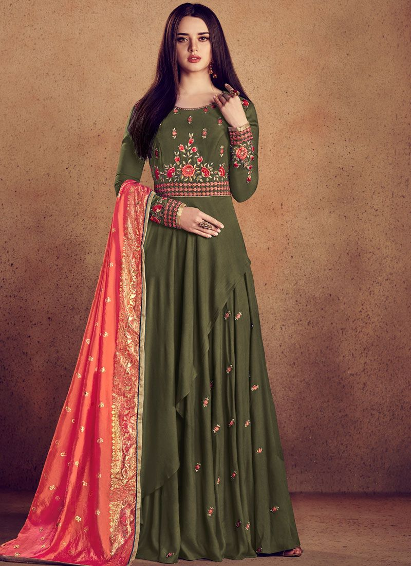 Resham Rayon Readymade Anarkali Suit in Green