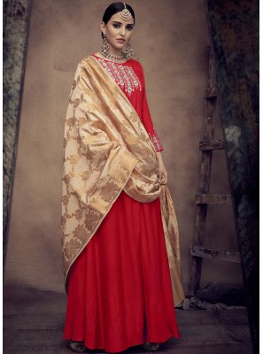Resham Rayon Red Readymade Anarkali Suit