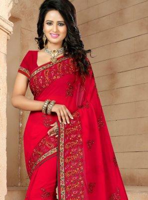 Resham Red Georgette Classic Designer Saree