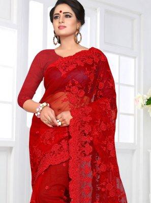 Resham Red Net Classic Designer Saree