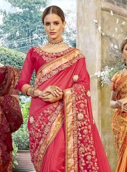 Resham Rose Pink Art Silk Designer Traditional Saree
