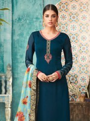 Resham Satin Churidar Designer Suit