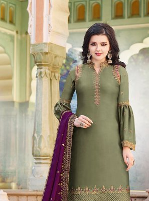 Resham Satin Green Designer Pakistani Suit