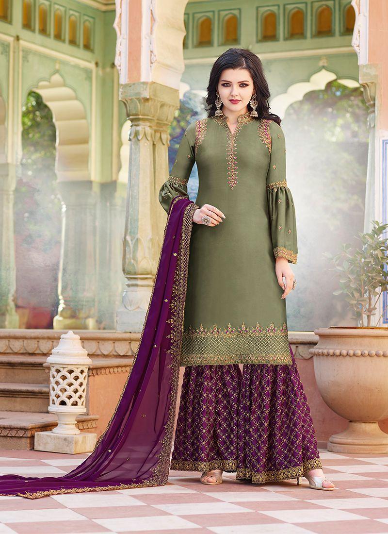 Resham Satin Green Designer Pakistani Suit