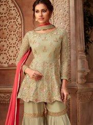 Resham Sea Green Designer Pakistani Suit