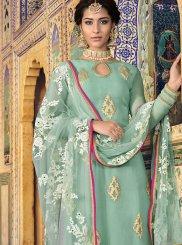 Resham Sea Green Designer Palazzo Suit