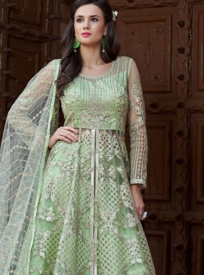 Resham Sea Green Net Long Choli Lehenga