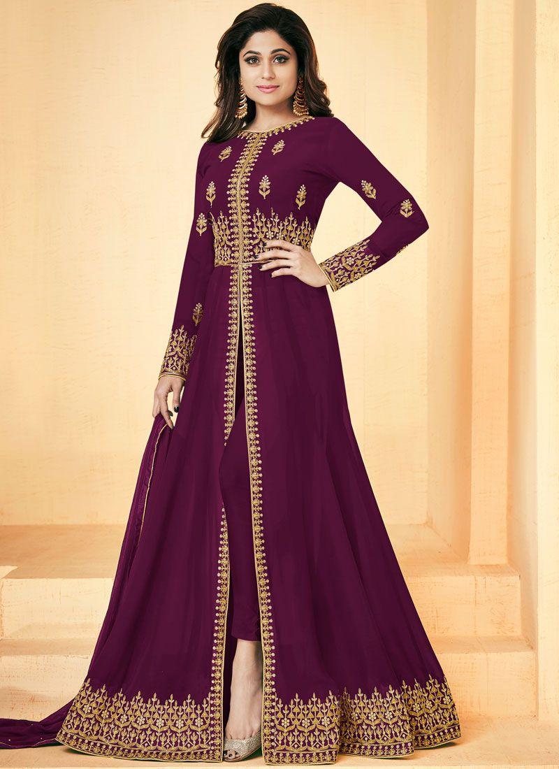 Resham Shamita Shetty Floor Length Anarkali Suit