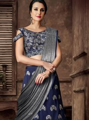 Resham Tafeta Silk Lehenga Style Saree in Blue