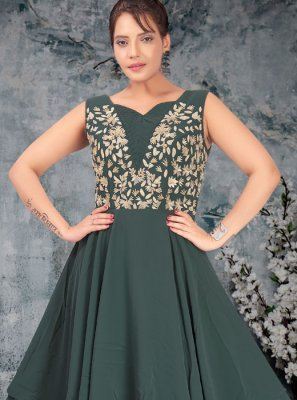 Resham Teal Faux Georgette Readymade Designer Gown