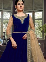 Resham Velvet Floor Length Anarkali Suit in Blue