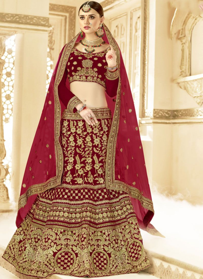 Resham Velvet Lehenga Choli in Red