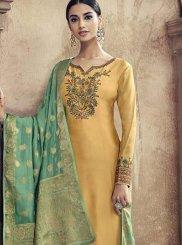 Resham Viscose Designer Palazzo Suit in Yellow