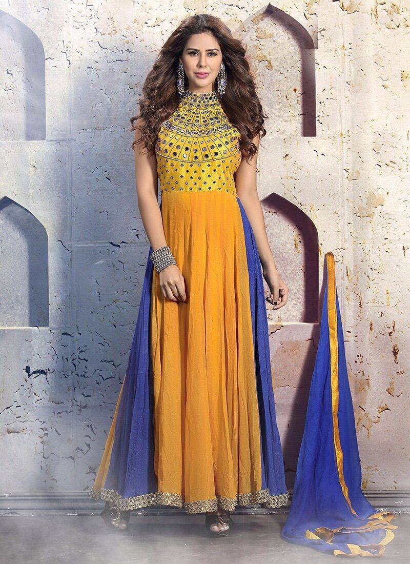 Resham Work Anarkali Salwar Suit