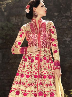 Resham Work Art Silk Cream Floor Length Anarkali Suit