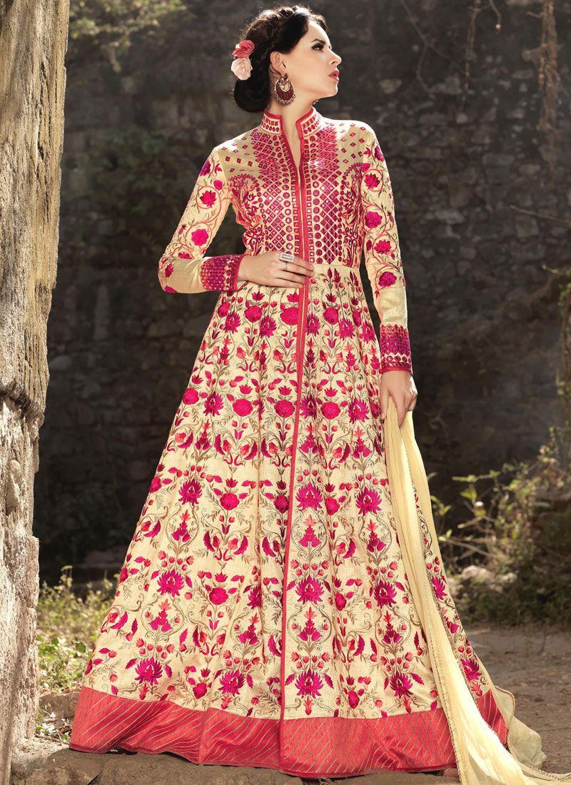 Resham Work Art Silk Cream Floor Length Anarkali Suit