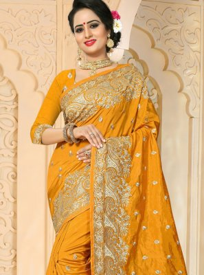 Resham Work Art Silk Designer Traditional Saree