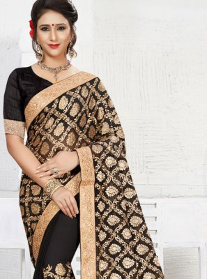 Resham Work Black Saree
