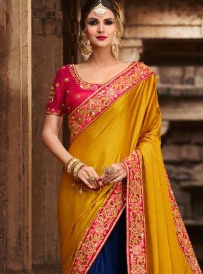 Resham Work Blue and Mustard Traditional Designer Saree