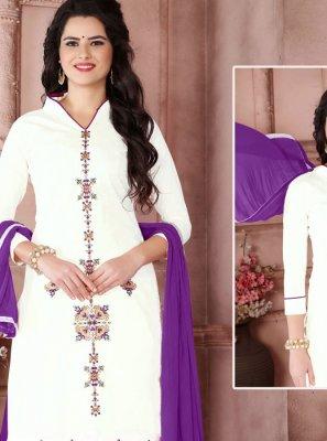 Resham Work Cotton   White Designer Palazzo Suit