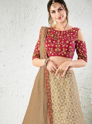 Resham Work Jacquard Silk Lehenga Choli