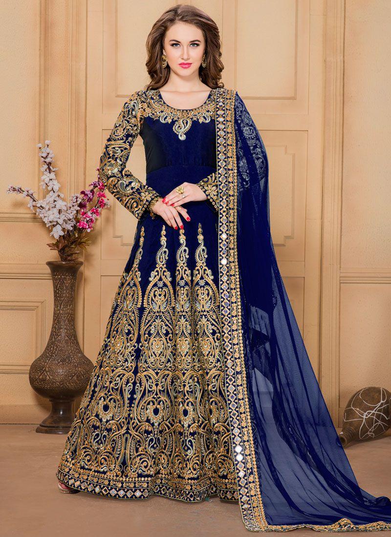 Resham Work Navy Blue Designer Floor Length Suit